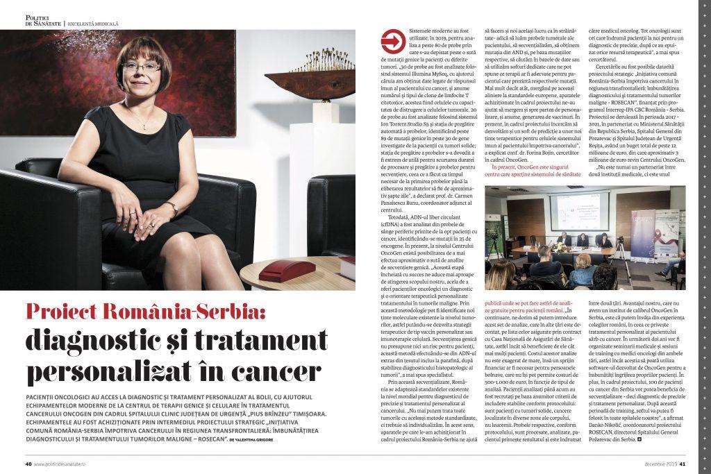 Proiect România-Serbia: diagnostic și tratament personalizat în cancer